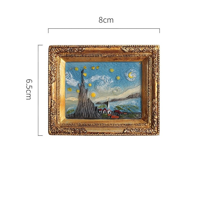 Refrigerator magnets with famous paintings