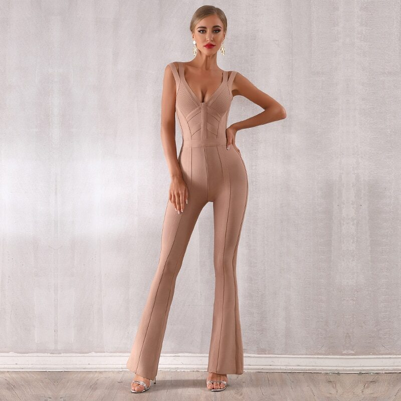 Seamyla women's jumpsuit with straps and v neckline