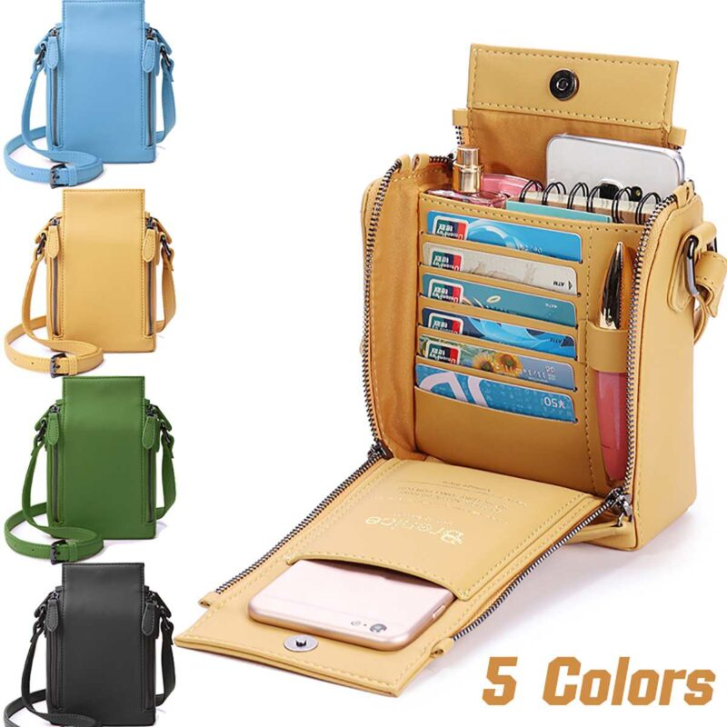 Waterproof women's multi-pocket leather shoulder bag for the best organisation of your personal items