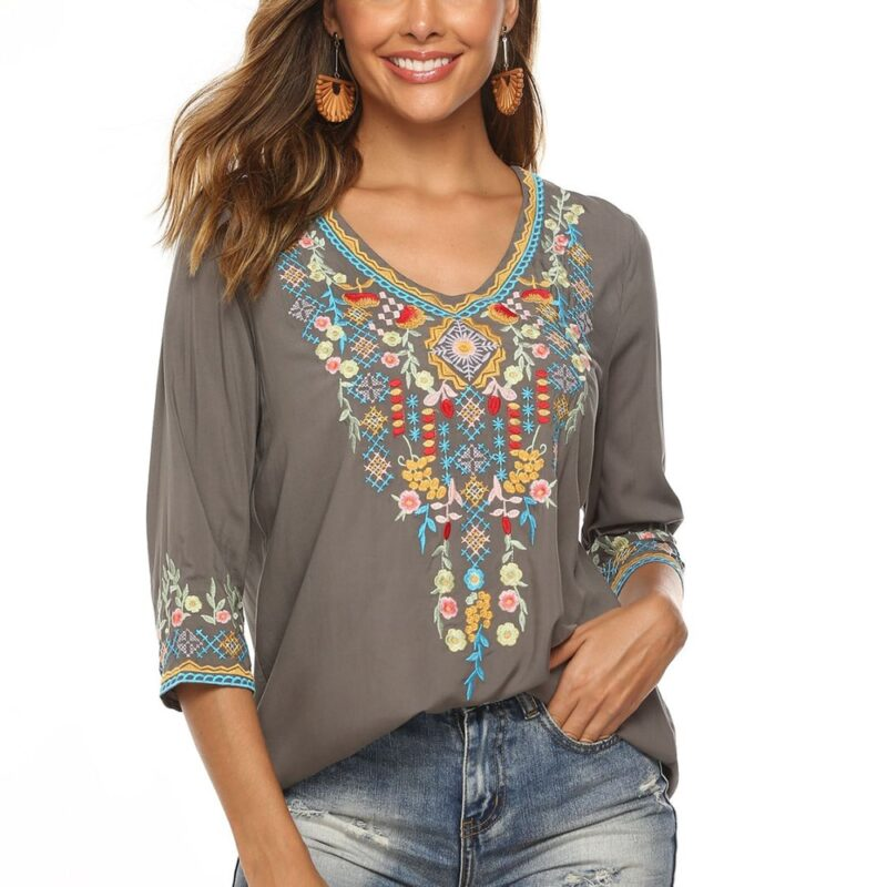 Khalee yose women's top with long sleeves and floral mexican embroidery