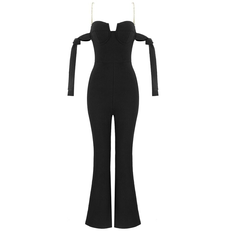 Women's jumpsuit with pearl straps