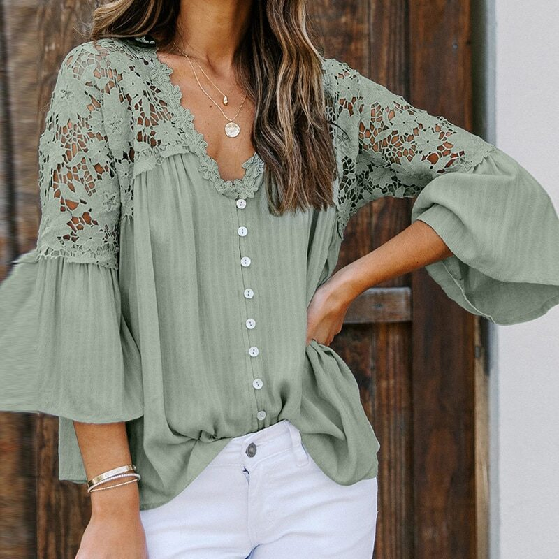 Teelynn hollowed out lace blouses shirts
