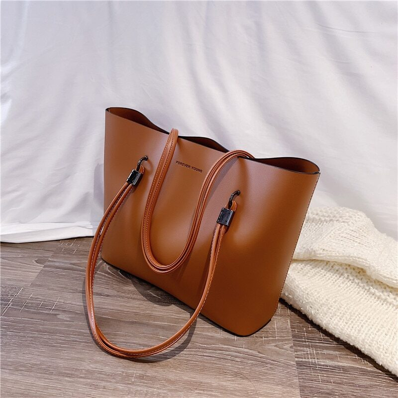 Women's black pu leather bag with handles
