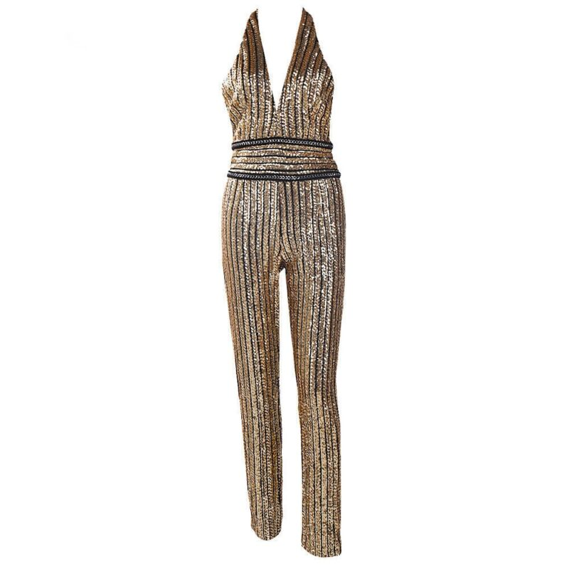 Women's jumpsuit with gold sequins and deep v neckline