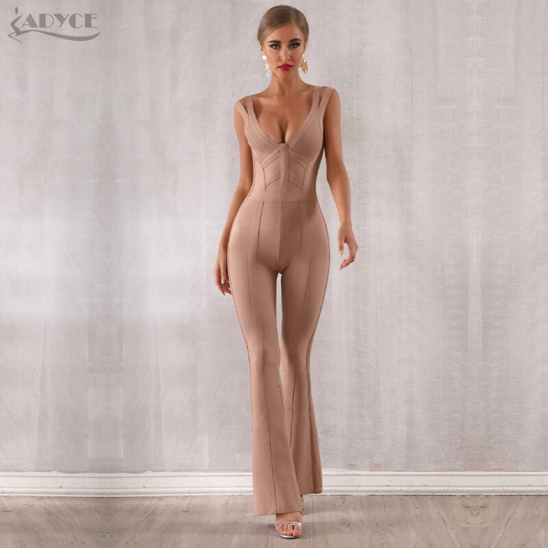 Adyce women's jumpsuit with v neck backless sleeveless