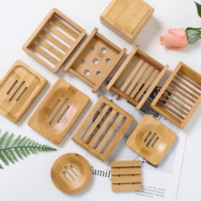 Wooden Natural Bamboo Soap Dishes Tray Holder Storage Soap Rack Plate Box Container Portable Bathroom Soap Dish Storage Box 1