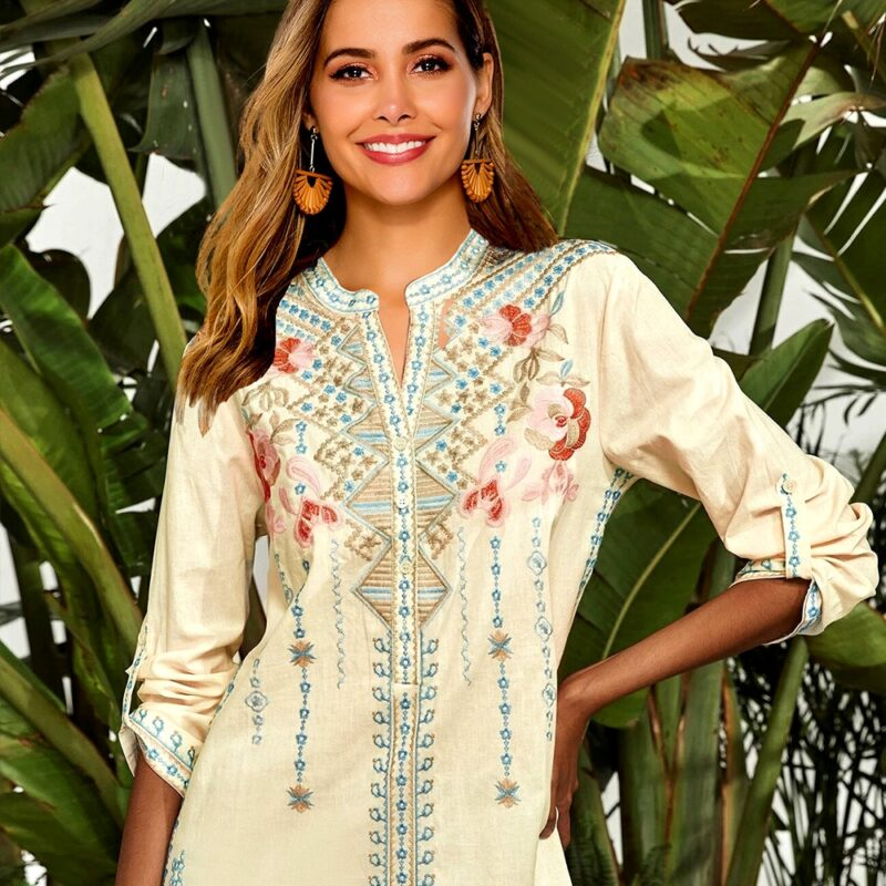 Khalee yose women's long sleeve shirt with embroidered details