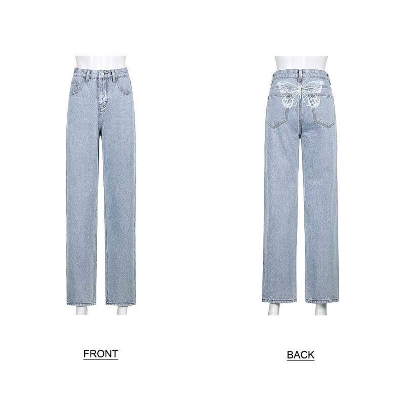 Women's jeans in wide fit with butterfly print
