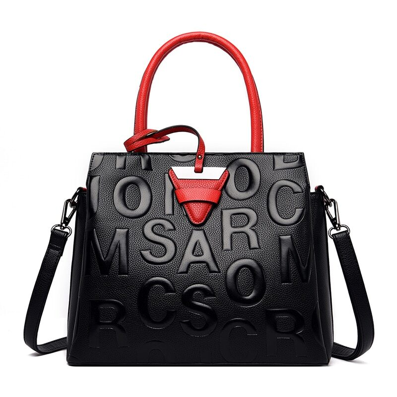 Women's genuine brand leather handbag with red details