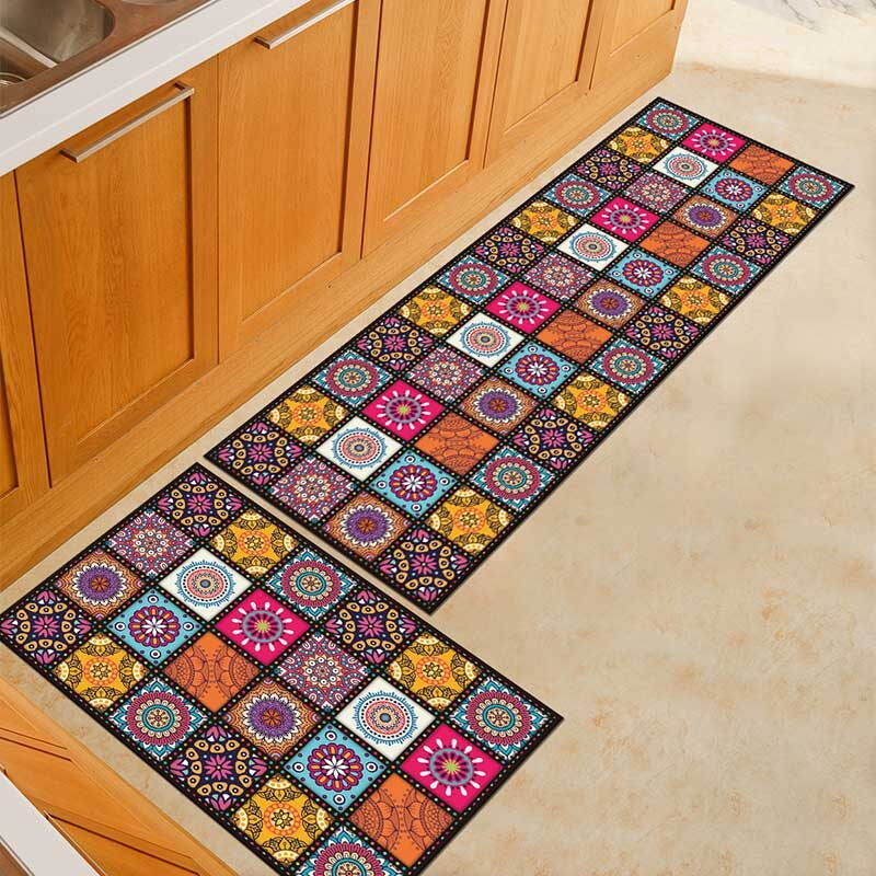 Non-slip mat for the kitchen with geometric designs