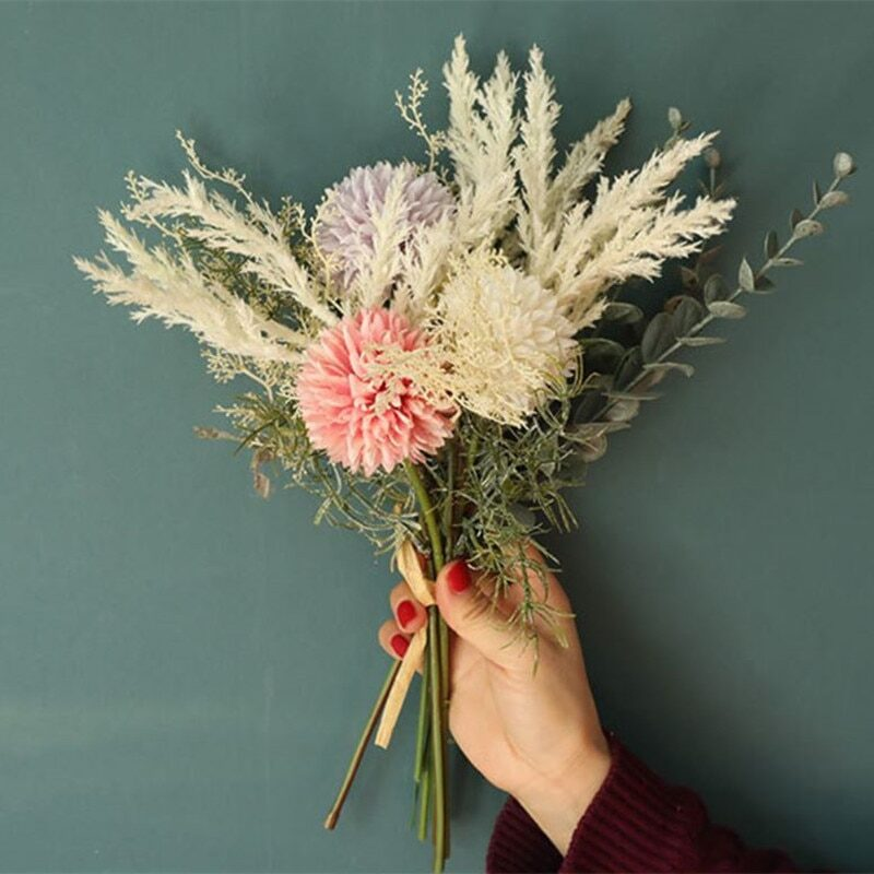 European bouquet with synthetic flowers