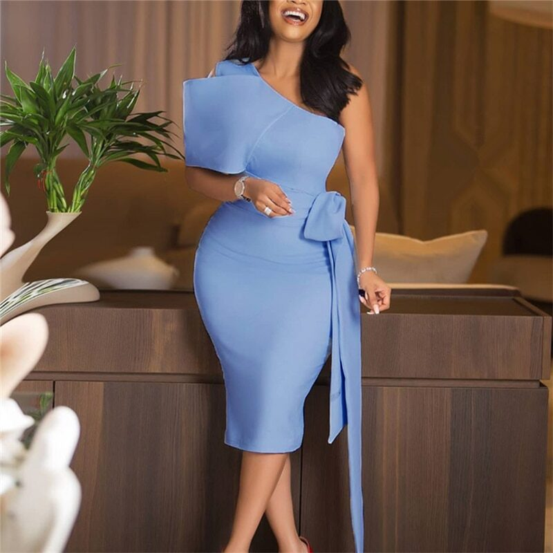 Women's light blue one shoulder dress with a bow at the waist