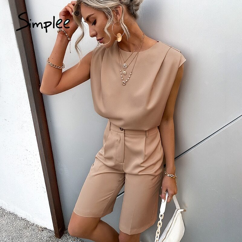 Simplee women's set of t-shirt and shorts