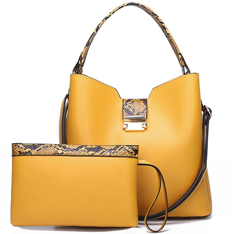 Women's shoulder bag set and small leather bag with animal print details