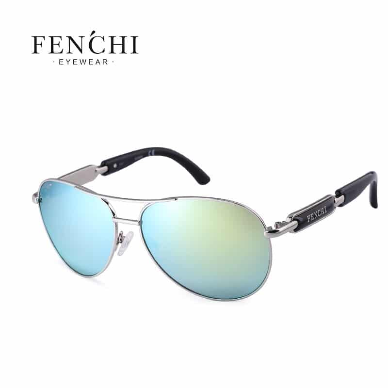 Fenchi women's sunglasses metal frame and pink mirror lenses