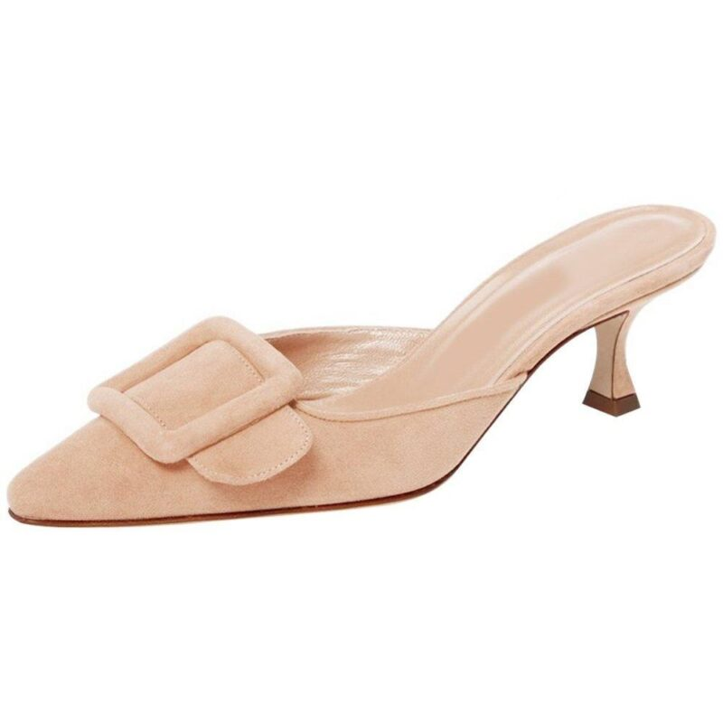 Lovirs women's mules slingback pumps with pointed toe and buckle