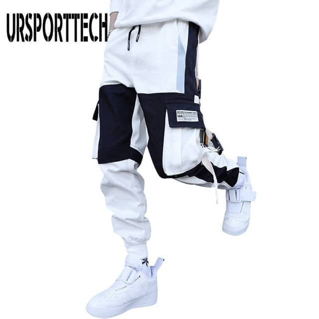 Men's hip hop cargo pants with leather ribbons