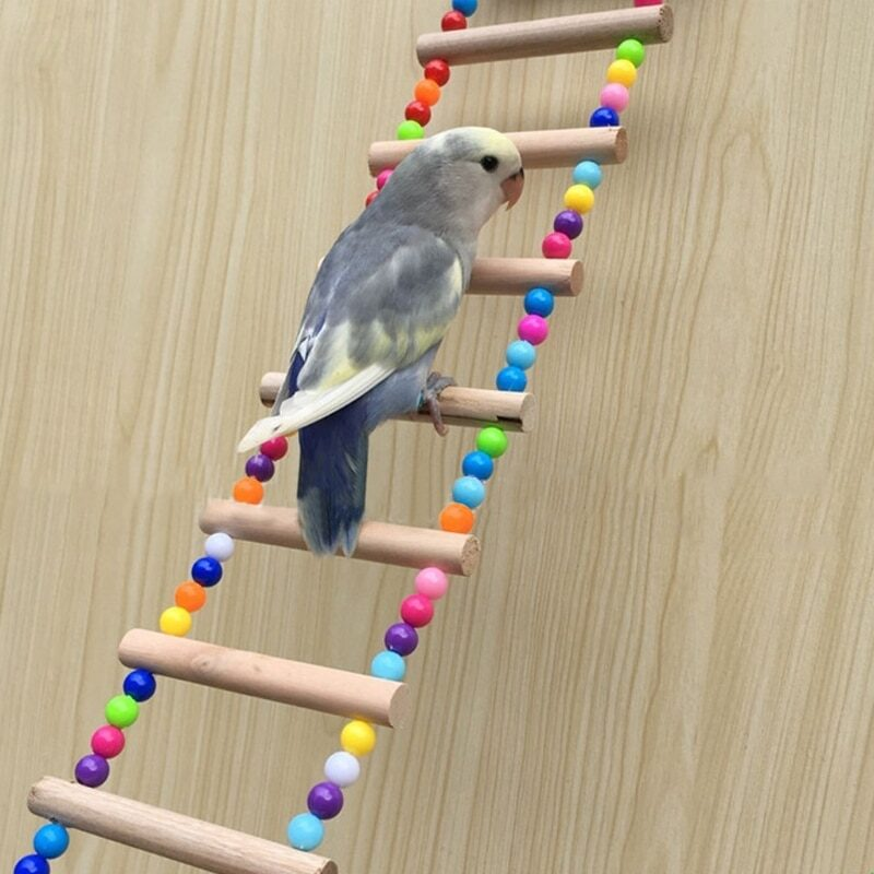 Birds Pets Parrots Ladders Climbing Toy Hanging Colorful Balls With Natural Wood Parrot Toys for Conures Parakeets Cockatiels 1