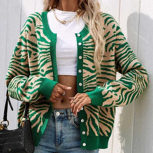 2021 Women's Knitted Leopard Print Sweater Casual Loose Button Comfortable Thick Animal Pullovers Knitted Cardigans for Women 8