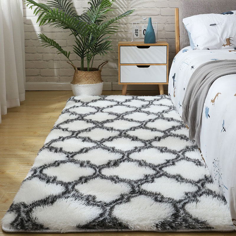 Fluffy Tie Dye Carpets For Bedroom Decor Modern Home Floor Mat Large Washable Nordica in the Living Room Soft White Shaggy Rug 1