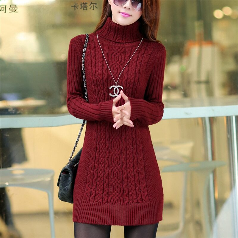 Thicken Turtleneck Sweater Medium Long Knitted Pullovers Women 2020 Autumn Winter Loose Knit Warm Sweater Female Casual Top W364 9