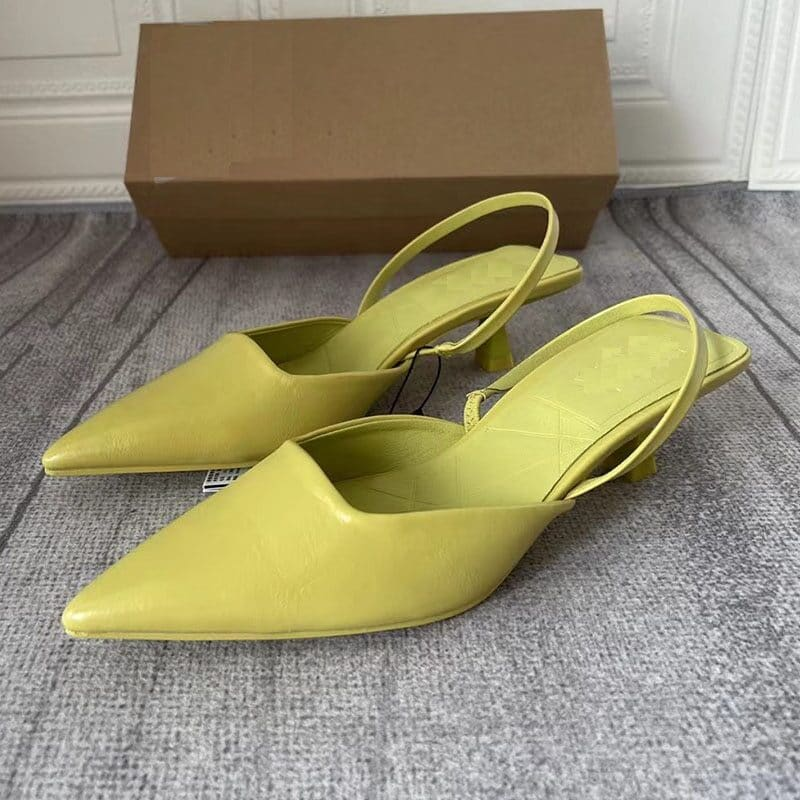 2021 New Brand Women Sandal Shoes Pink Thin Low Heel 4cm Pumps Dress Shoes Ladies Fashion Pointed Toe Shallow Slingback Mules 7
