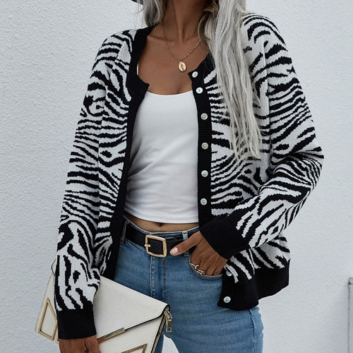 2021 Women's Knitted Leopard Print Sweater Casual Loose Button Comfortable Thick Animal Pullovers Knitted Cardigans for Women 7