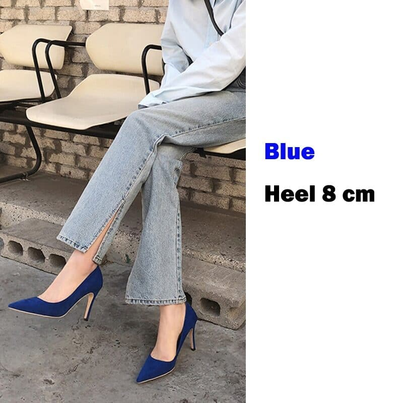 EOEODOIT 6 CM 8 CM Heels Shoes Women Formal Fashion High Stiletto Heels Office Party Dress Shoes Sexy Pointed Toe Slip On 12