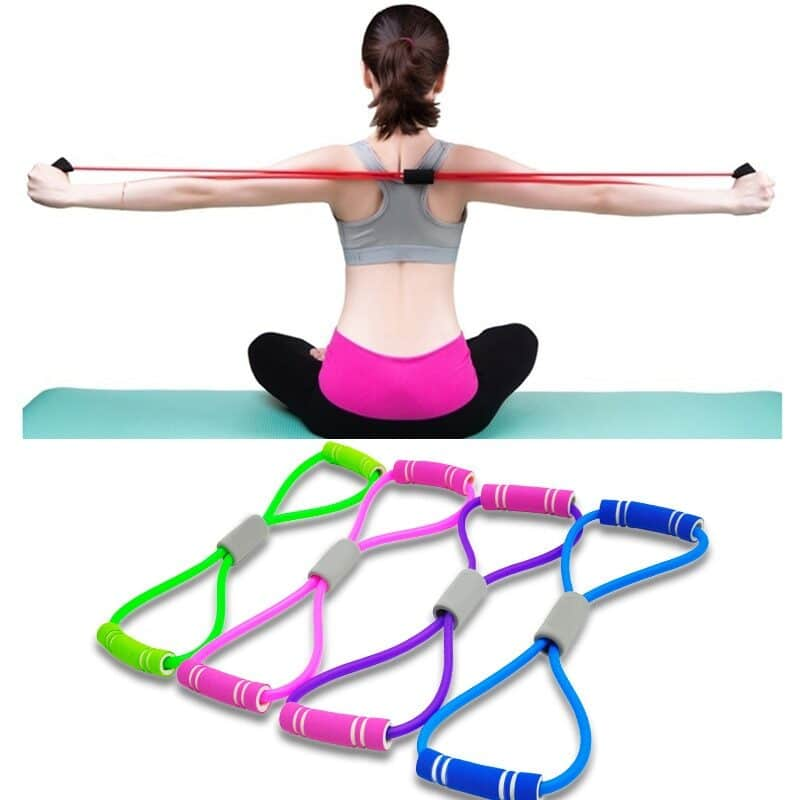 Hot Yoga Gum Fitness Resistance 8 Word Chest Expander Rope Workout Muscle Trainning Rubber Elastic Bands for Sports Exercise 1