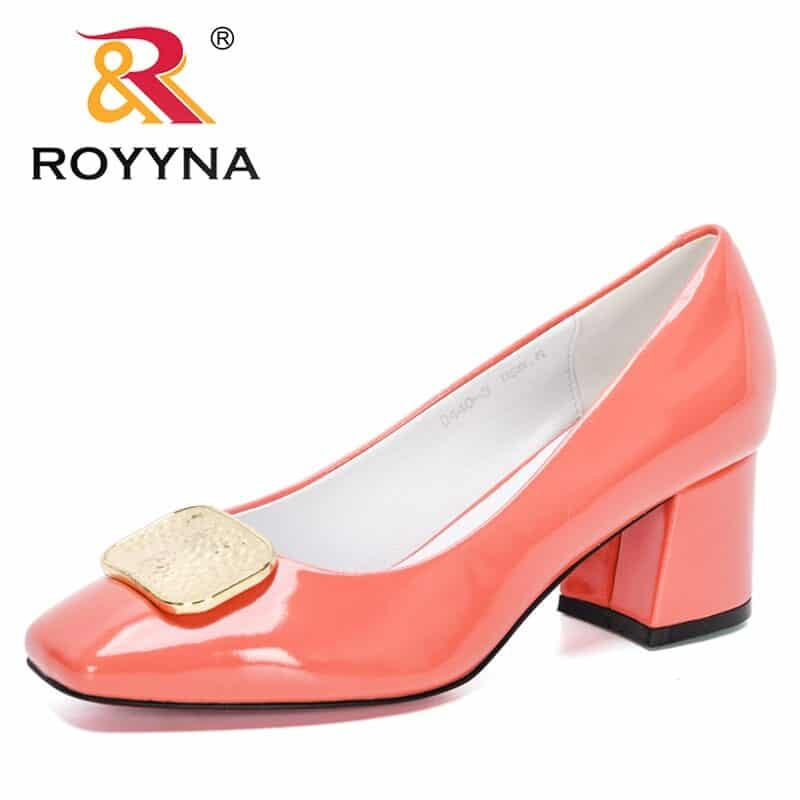 ROYYNA 2021 New Designers Dress Shoes OL Office Shoes Ladies Patent Leather High Heels Woman Pumps Square Toe Wedding Footwear 9