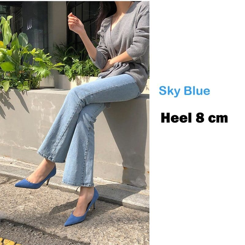 EOEODOIT 6 CM 8 CM Heels Shoes Women Formal Fashion High Stiletto Heels Office Party Dress Shoes Sexy Pointed Toe Slip On 13
