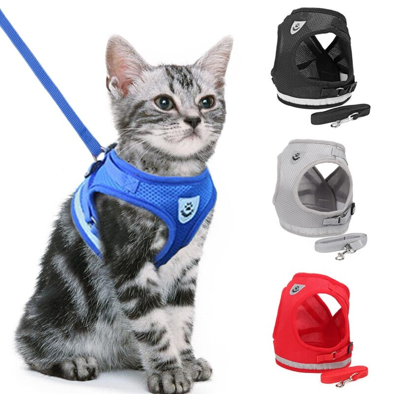 Cat Dog Adjustable Harness Vest Walking Lead Leash For Puppy Dogs Collar Polyester Harness For Small Medium Dog Cat Accessories 1