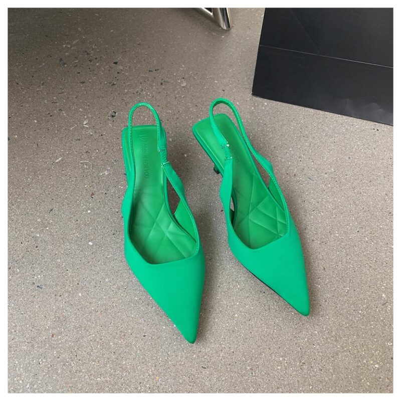 Fashion Thin High Heels Slingback Sandals Women Slip On Mules Pointed Toe Shallow Pumps Party Dress Shoes Brand Sandalias  Mujer 8