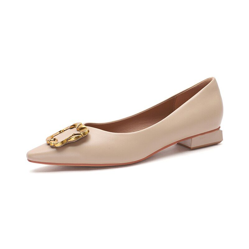 New 2021 Spring Women Shoes Moccasins Low Square Heels Brand Design Gold Buckle Female Slip On Casual Elegant Comfortable Pumps 22