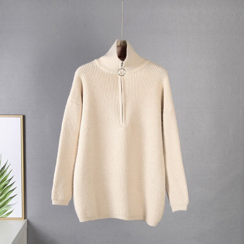 WYWM Pit Stripes Cashmere Sweaters Women Loose Casual Knited Pullovers Ladies 2021 Winter Zipper Turn-down Collar Thick Jumper 10