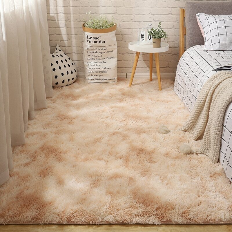 Fluffy Tie Dye Carpets For Bedroom Decor Modern Home Floor Mat Large Washable Nordica in the Living Room Soft White Shaggy Rug 22