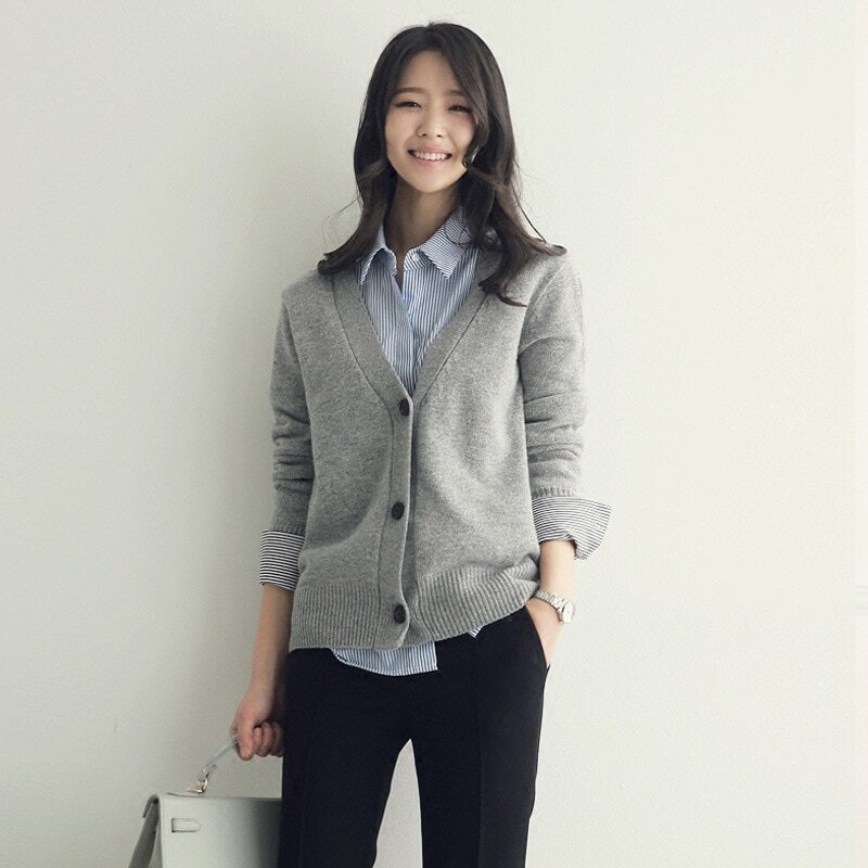 Spring 2021 new autumn and winter women's sweater jacket cardigan women loose outside to wear a conventional versatile  SR662 4