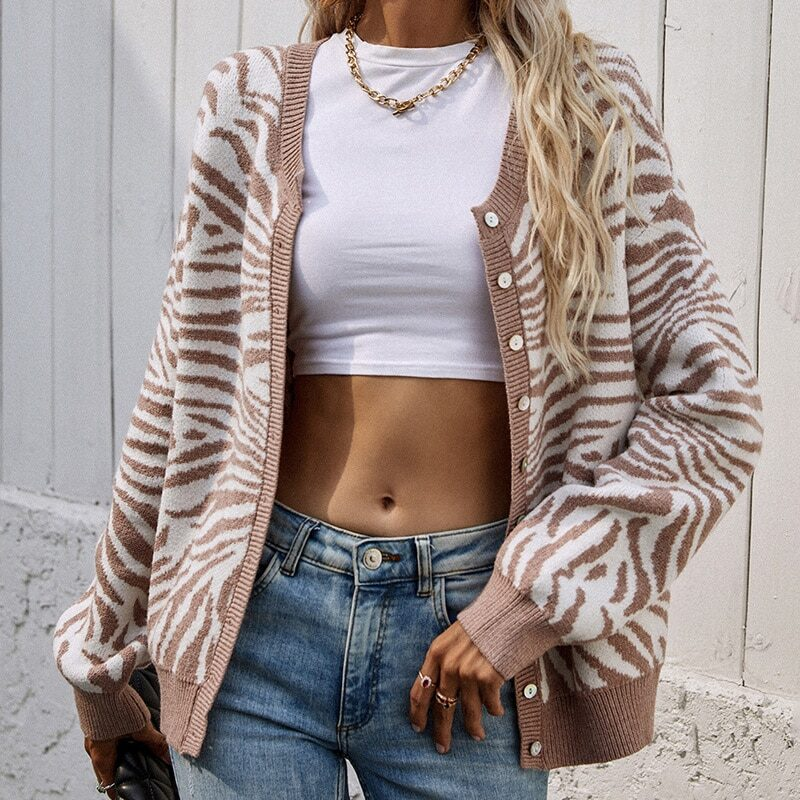 2021 Women's Knitted Leopard Print Sweater Casual Loose Button Comfortable Thick Animal Pullovers Knitted Cardigans for Women 1