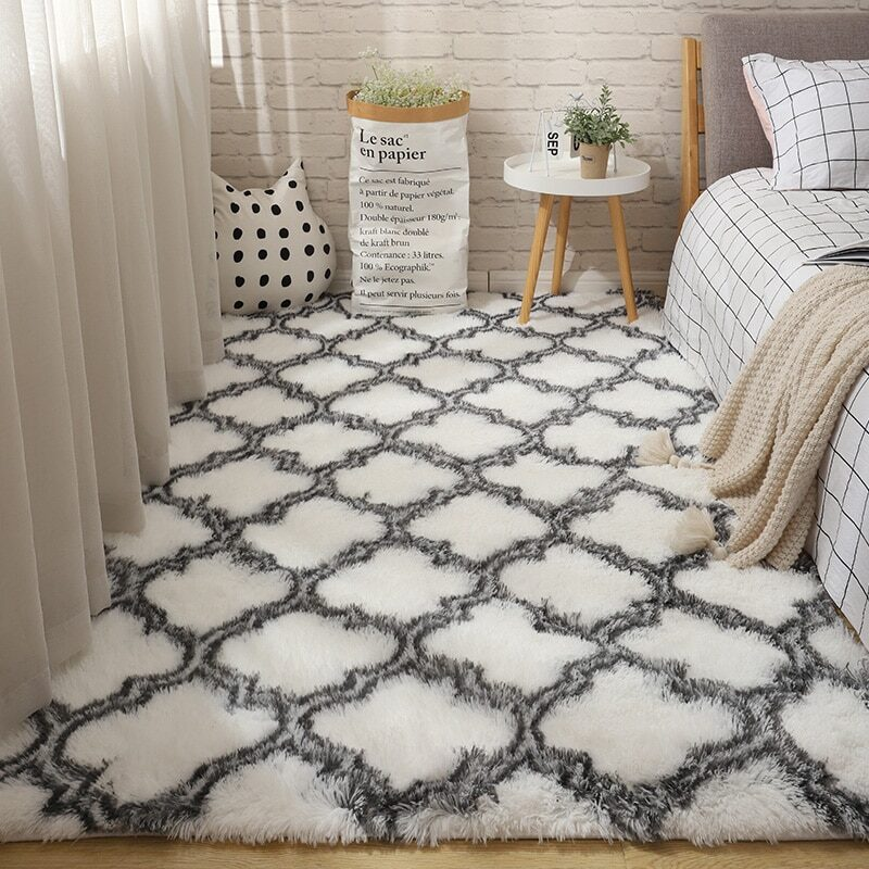 Fluffy Tie Dye Carpets For Bedroom Decor Modern Home Floor Mat Large Washable Nordica in the Living Room Soft White Shaggy Rug 16