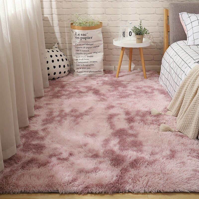 Fluffy Tie Dye Carpets For Bedroom Decor Modern Home Floor Mat Large Washable Nordica in the Living Room Soft White Shaggy Rug 21