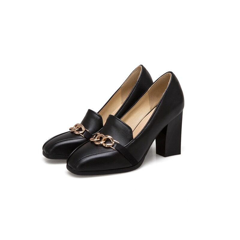Women's leather high heel shoes with thick square heel
