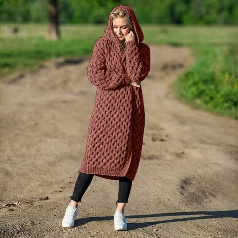 New Arrival Fashion Women's Hooded Thick Knitted Sweater Cardigan Coat Long Sleeve Winter Warm Hooded Long Cloak 11