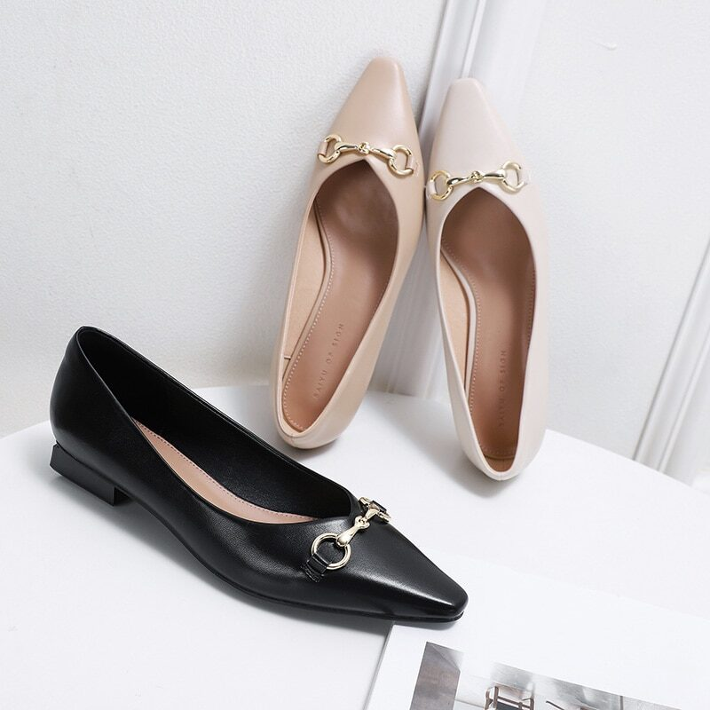 New 2021 Spring Women Shoes Moccasins Low Square Heels Brand Design Gold Buckle Female Slip On Casual Elegant Comfortable Pumps 1