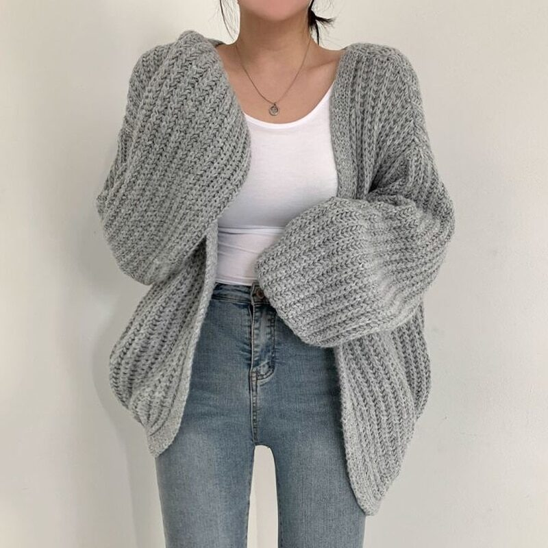 Autumn Lazy Loose Casual Solid V Neck Lantern Sleeve Knitted Sweater Wild Long Sleeve Oversize Cardigan Coat Retro Sueters Mujer 1