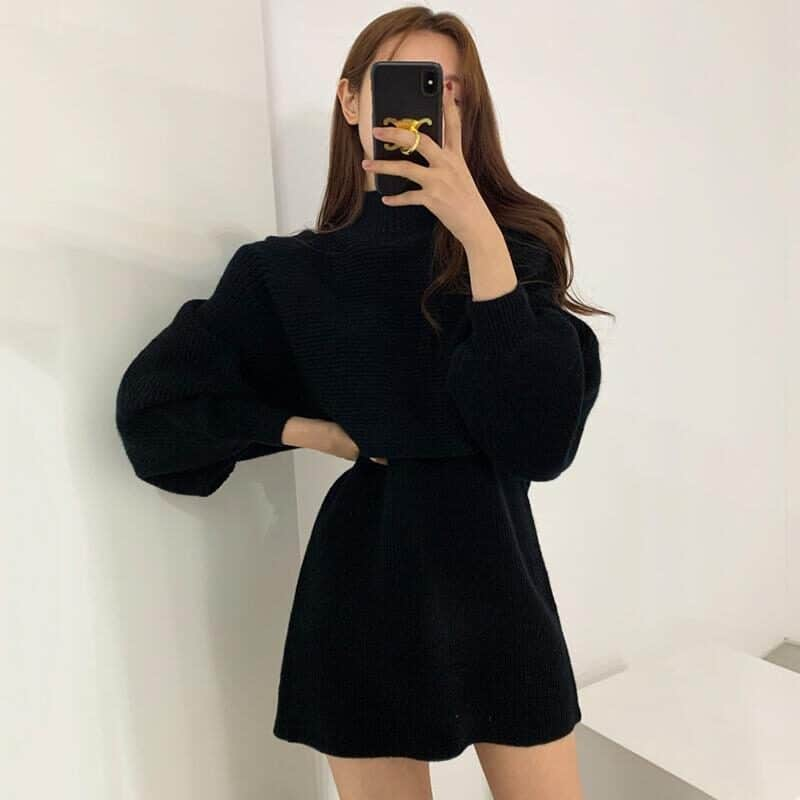 Female Autumn Winter Casual Knitwear Dress Loose Two Piece Set Solid Mock Neck Thick Warm Knitted Pullover Women Long Sweaters 8