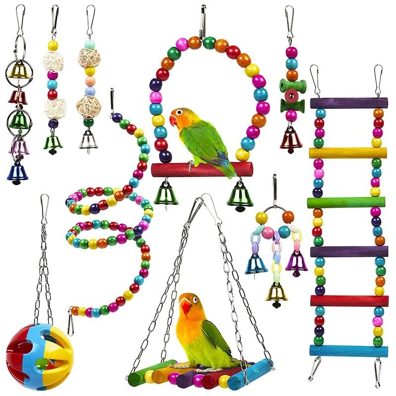 10 Pack Bird Cage Toys for Parrots Reliable & Chewable - Swing Hanging Chewing Bite Bridge Wooden Beads Ball Bell Toys (in stock 1