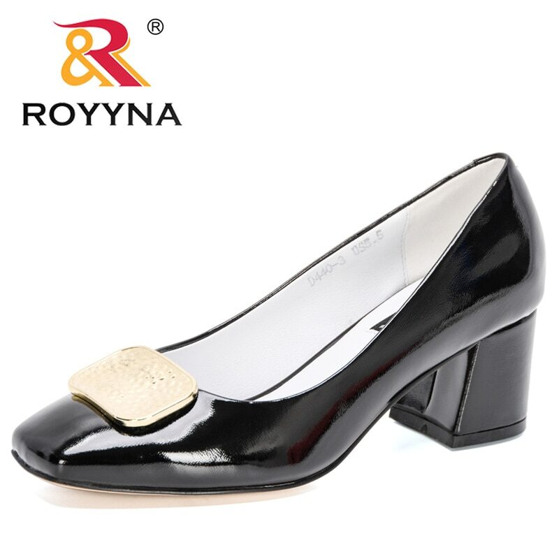 ROYYNA 2021 New Designers Dress Shoes OL Office Shoes Ladies Patent Leather High Heels Woman Pumps Square Toe Wedding Footwear 10
