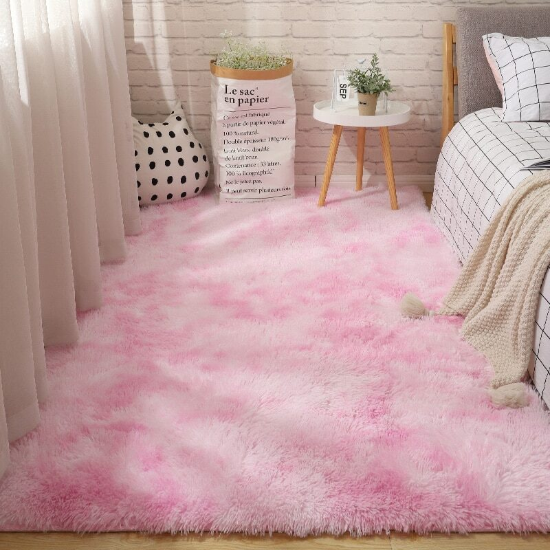 Fluffy Tie Dye Carpets For Bedroom Decor Modern Home Floor Mat Large Washable Nordica in the Living Room Soft White Shaggy Rug 28