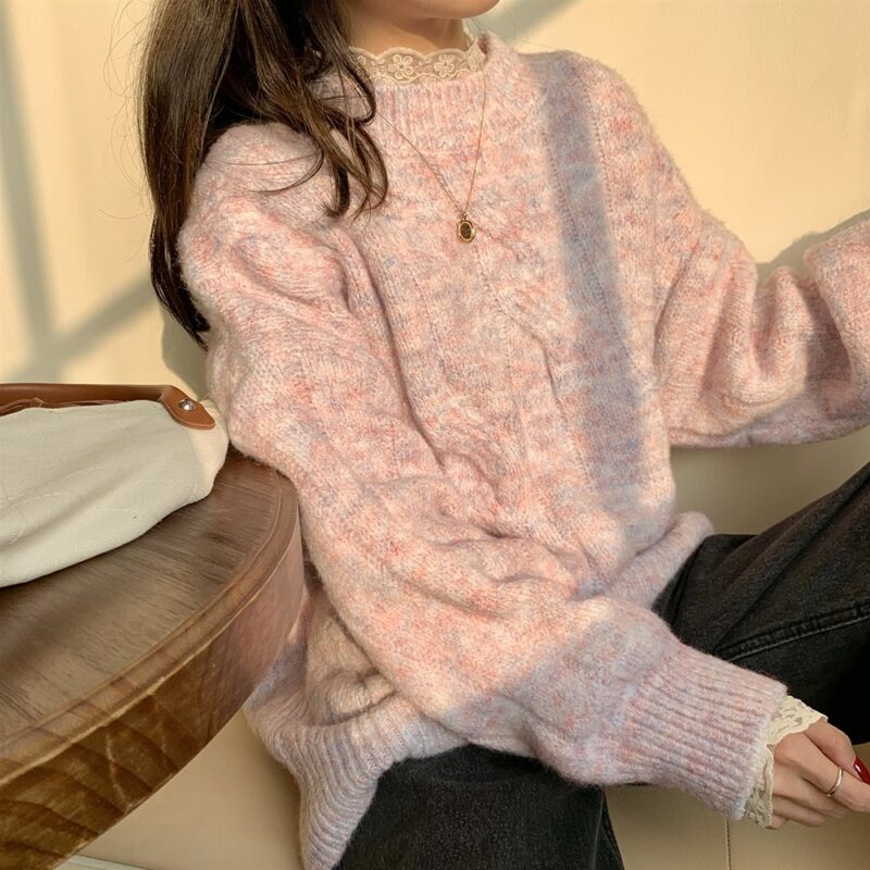 Yitimoky Fall Sweaters for Women Pink Beige O-Neck Pullovers Vintage Thick Knitted Long Sleeve Clothes Korean Style Loose Top 7