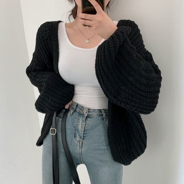 Autumn Lazy Loose Casual Solid V Neck Lantern Sleeve Knitted Sweater Wild Long Sleeve Oversize Cardigan Coat Retro Sueters Mujer 4
